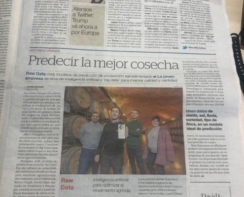 Predecir la mejor cosecha, artículo sobre RawData en El Periódico